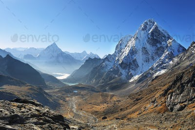 Ama Dablan and Cholatse peaks from Dzongla, Nrpal