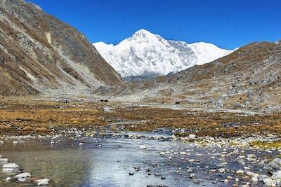 View of mount Cho Oyu from Gokyo, Nepal