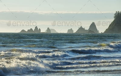 View of rocks in the ocean from Rialto beach