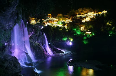Furong (Hibiscus) ancient village at night