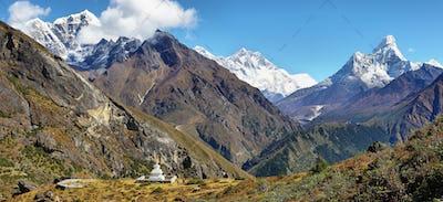 Nuptse, Everest, Lhotse and Ama Dablan mountain views