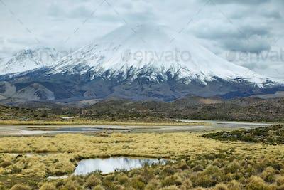 Snow capped Parinacota volcano