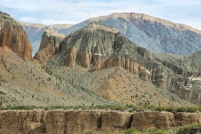 "View of curious mountains shapes in ""Quebrada del toro"","