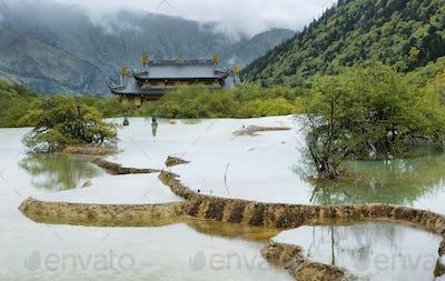 Multi-colored pond in Huanlong scenic Area