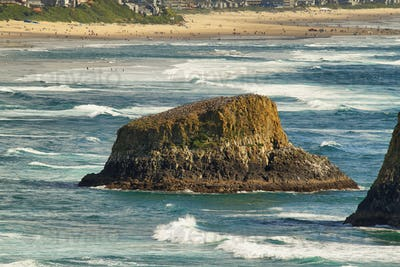 View of curious rocks in Ecola state park,