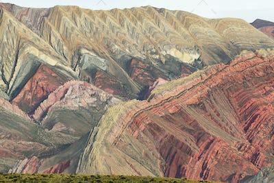 Multicolored mountain known as Serrania del Hornoca