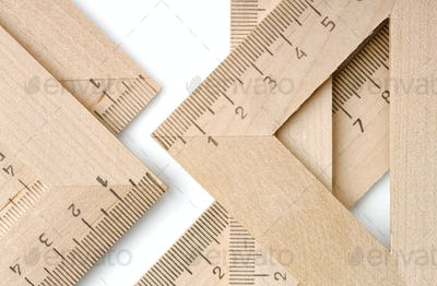 Group of wooden rulers