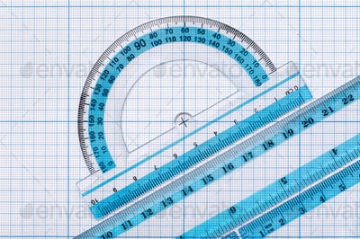 Group of transparent plastic rulers
