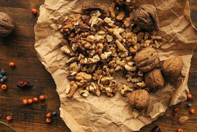 Walnut kernels top view
