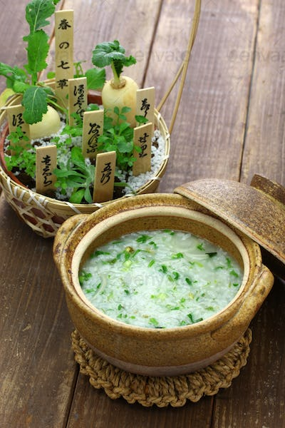 Nanakusagayu, rice porridge with seven herbs, Japanese traditional custom