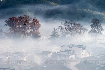 beautiful mountain village in early morning