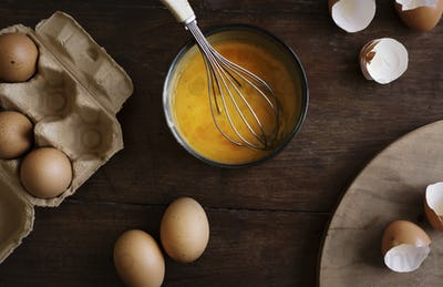 Beaten eggs food photography recipe idea