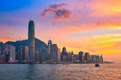 Junk boat in Hong Kong Victoria Harbour