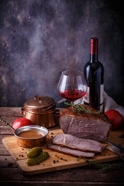 Roast beef with demi glace sauce and red wine, copy space