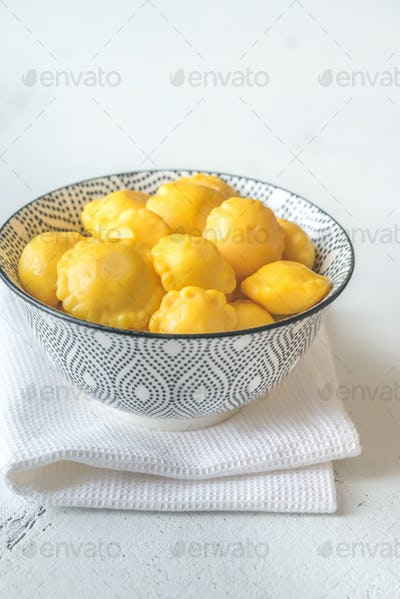 Bowl of pattypan squash