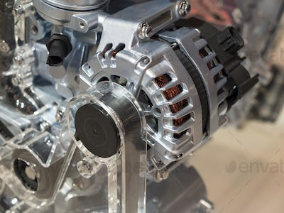 Close up detail of tuned car engine