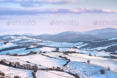 Snow in Tuscany, Radicondoli winter panorama. Siena, Italy