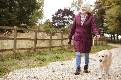 Active Senior Woman On Autumn Walk With Dog On Path Through Countryside