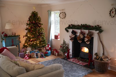 Lounge Decorated For Christmas With Tree And Presents
