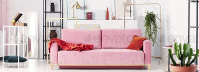 Panoramic view of powder pink sofa, white and black metal shelve