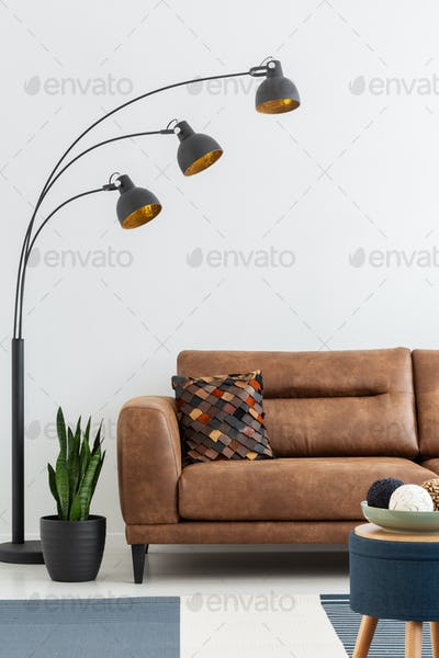 Lamp and plant next to brown leather couch with cushion in white