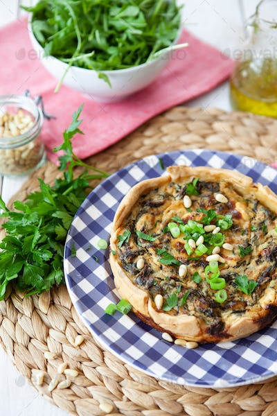 Homemade quiche with parsley