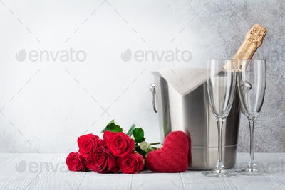 Champagne and rose flowers
