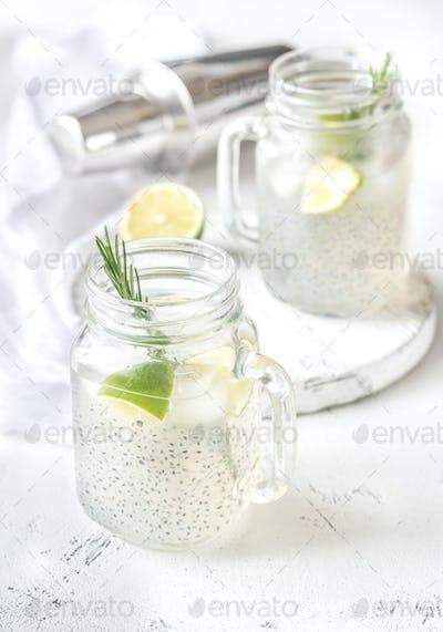 Basil seed drink in the mason jar