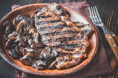 Beef steak with porcini mushrooms