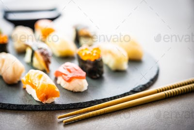Nigiri sushi set with salmon tuna shrimp prawn eel shell and oth