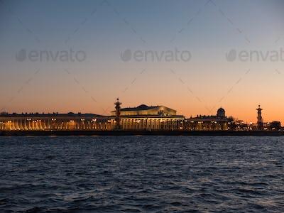 Sky of the sunset over the exchange of Vasilievsky island. Saint Petersburg, Russia