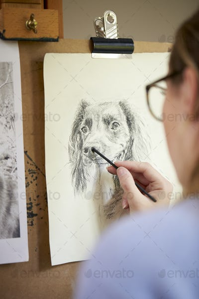 Rear View Of Female Teenage Artist Sitting At Easel Drawing Picture Of Dog  In Charcoal