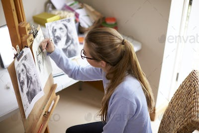 Side View Of Female Teenage Artist Sitting At Easel Drawing Picture Of Dog