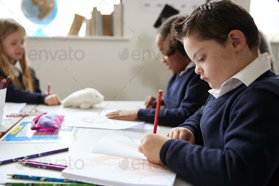 Pre-teen school boy with Down syndrome sitting at a desk writing in a primary school class