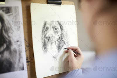 Rear View Of Female Teenage Artist Sitting At Easel Drawing Picture Of Dog From Photograph