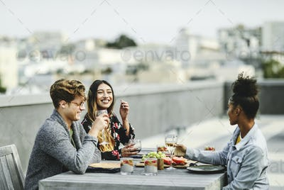 Friends having a rooftop party in San Francisco