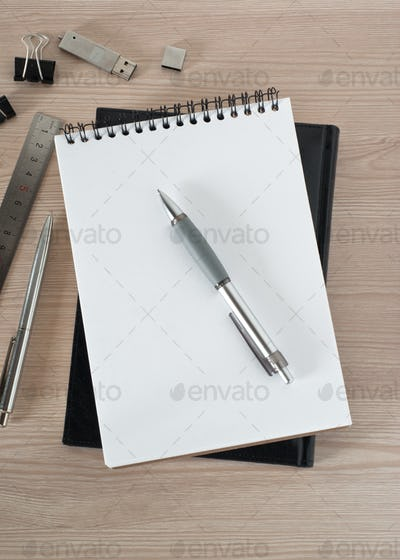 Blank notepad on office table