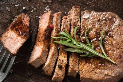 Grilled beef steak sliced.