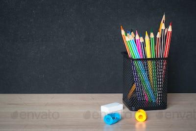 School  supplies on classroom table