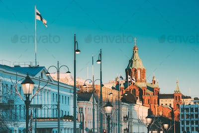 Helsinki, Finland. Uspenski Cathedral At Morning. Red Church Is