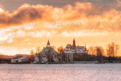 Helsinki, Finland. Sunrise Landscape Of Blekholmen Valkosaari Is