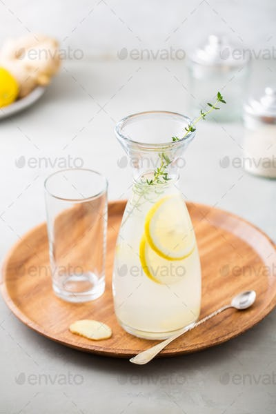 Refreshing drink with ginger and lemon