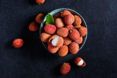 Fresh fruit Lychee on black background