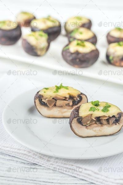 Baked mushroom stuffed with mozzarella