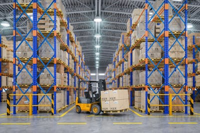 Forklift truck in warehouse or storage and shelves with cardboar