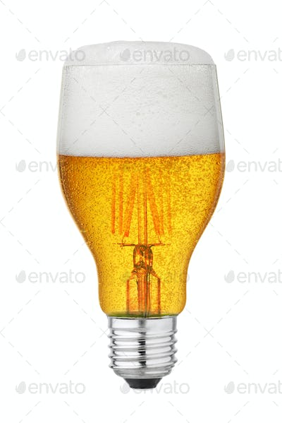 Light bulb with beer isolated
