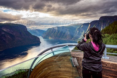 Nature photographer. Stegastein Lookout.