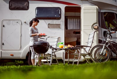 Family vacation travel RV, holiday trip in motorhome, Caravan ca