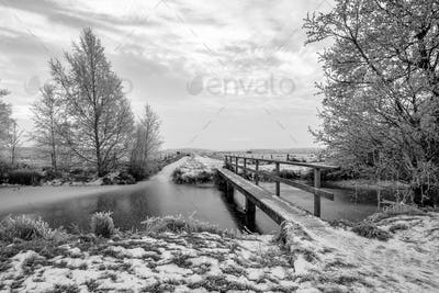 Frozen canal in northern part of the province of Drenthe in B&W