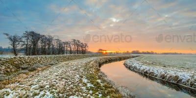 Meandering River in Frozen  landscape
